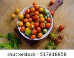 ripe fresh multicolored cherry... | Shutterstock . vector #517618858