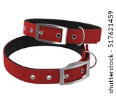 dogs collar on white. red color.... | Shutterstock . vector #517621459