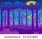 flat night landscape with big... | Shutterstock .eps vector #517621804