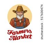 farmers market vector logo or... | Shutterstock .eps vector #517630474