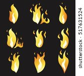 set of animation fire and... | Shutterstock .eps vector #517631524