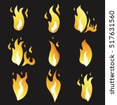 set of animation fire and... | Shutterstock .eps vector #517631560