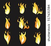 set of animation fire and... | Shutterstock .eps vector #517631584