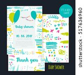 vector baby shower brush card...   Shutterstock .eps vector #517636960