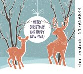 christmas illustration with... | Shutterstock .eps vector #517656844