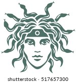graphic portrait of the gorgon... | Shutterstock .eps vector #517657300