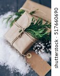 christmas gift boxes with... | Shutterstock . vector #517660690