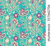 paisley mehndi seamless... | Shutterstock .eps vector #517662706