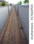 Small photo of Rails for the tram. A tram in a big city