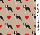 dog boston terrier seamless... | Shutterstock .eps vector #517663930