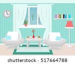 living room interior including... | Shutterstock .eps vector #517664788