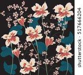 flowers irises abstract art... | Shutterstock .eps vector #517666204