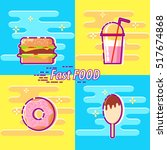 set of colorful fast food flat...   Shutterstock .eps vector #517674868