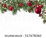 christmas card with fir... | Shutterstock . vector #517678360