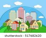 modern city town cardboard... | Shutterstock .eps vector #517682620