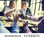 business people dining together ... | Shutterstock . vector #517683670