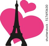 Eiffel Tower With Pink Hearts