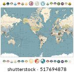 world map old colors... | Shutterstock .eps vector #517694878