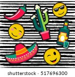 set of fun patches or stickers... | Shutterstock .eps vector #517696300