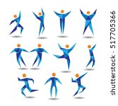 blue active people figure logo... | Shutterstock .eps vector #517705366