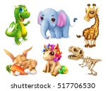 funny animal set. happy bunny ... | Shutterstock .eps vector #517706530