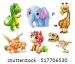 funny animal set. happy bunny ... | Shutterstock .eps vector #517706530
