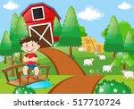 boy smiling in the farm... | Shutterstock .eps vector #517710724