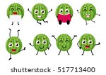 happy watermelon cartoon... | Shutterstock . vector #517713400