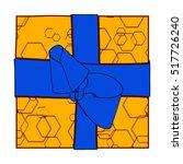 orange gift box present with... | Shutterstock . vector #517726240