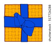 orange gift box present with... | Shutterstock . vector #517726288