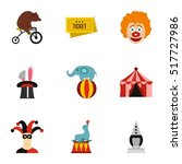 circus icons set. flat...