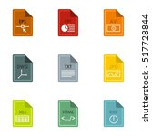 documents icons set. flat... | Shutterstock .eps vector #517728844
