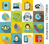 call center symbols icons set.... | Shutterstock .eps vector #517729834