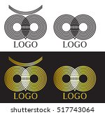 vector outline owl logo set.... | Shutterstock .eps vector #517743064