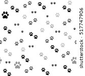 Stock vector paw print seamless traces of cat textile pattern vector seamless 517747906