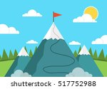 red flag on a mountain peak.... | Shutterstock .eps vector #517752988