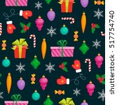 seamless christmas pattern with ... | Shutterstock .eps vector #517754740