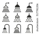 shower vector icons set. black...   Shutterstock .eps vector #517781206