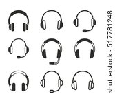 headphone vector icons set.... | Shutterstock .eps vector #517781248