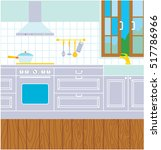 kitchen interior. vector | Shutterstock .eps vector #517786966