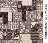 hand drawn seamless patchwork... | Shutterstock .eps vector #517793140