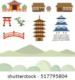 castle  tower  temple icon set | Shutterstock .eps vector #517795804