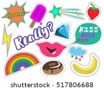 fashion patch badges with ice... | Shutterstock .eps vector #517806688