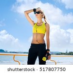fit  sporty and athletic young... | Shutterstock . vector #517807750