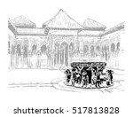 the courtyard of the lions.... | Shutterstock .eps vector #517813828
