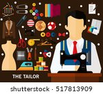 the tailor concept background.... | Shutterstock .eps vector #517813909