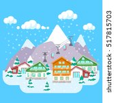 mountain ski resort with winter ... | Shutterstock .eps vector #517815703