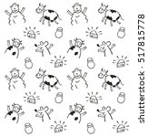 funny animals seamless pattern | Shutterstock .eps vector #517815778