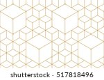 golden lines  hexagons  rhombs... | Shutterstock .eps vector #517818496