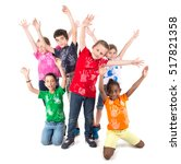 group of children posing... | Shutterstock . vector #517821358